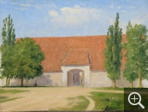 Martinus RØRBYE (1803-1848), Farm Buildings, probably Gjorslev Manor, oil on paper pasted on canvas, 23.5 x 31 cm. Collection particulière. © A. Leprince