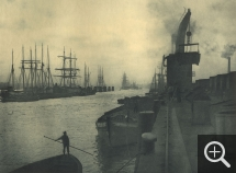 Franz SCHMIDT & Otto KOFAHL, The Port of Hamburg, 1908, rotogravure, 16.8 x 22.7 cm. Le Havre, French Lines. © Le Havre, collection de l'association French Lines / Franz Schmidt et Otto Kofahl