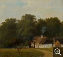 Axel Thorsen SCHOVELIN (1827-1893), View of the Gate House in the Deer Park, North of Copenhagen, oil on canvas, 24 x 27 cm. Collection particulière. © A. Leprince