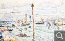 Paul SIGNAC (1863-1935), Barfleur, June 23, 1930, watercolour, 28 x 44 cm. Collection particulière. © All rights reserved