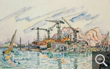 Paul SIGNAC (1863-1935), La Ciotat, ca. 1930, watercolour and pencil on paper, 27.7 x 44 cm. Collection particulière. © All rights reserved