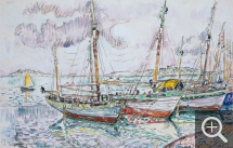 Paul SIGNAC (1863-1935), Ile-aux-Moines, mai 1929, mine de plomb et aquarelle, 28 x 43,3 cm. © Little Rock, Arkansas Arts Center Foundation. Gift of James T. Dyke