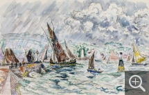 Paul SIGNAC (1863-1935), Concarneau, Tuna Boats, June 1929, watercolour, 28.8 x 44.7 cm. Collection particulière. © All rights reserved