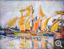 Paul SIGNAC (1863-1935), Three-masted Terre-neuvas. Sails Loosened to Dry. Saint-Malo, 1931, oil on canvas, 73 x 92 cm. Collection particulière. © All rights reserved