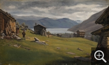 Frederik Hensen SØDRING (1809-1862), Norwegian Fjord Landscape with Buildings (Saw Mill), 1833, oil on canvas, 21 x 34 cm. Collection particulière. © A. Leprince