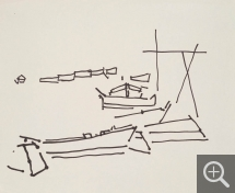 Nicolas de STAËL (1914-1955), Study of Boats, 1953-1954, felt-tip pen on paper, 33 x 40.5 cm. Private collection. © J.L. Losi — © ADAGP, Paris, 2014