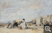 Eugène BOUDIN (1824-1898), Lady in White on the Beach at Trouville, 1869, oil on board, 31.4 x 48.6 cm. © MuMa Le Havre / Florian Kleinefenn