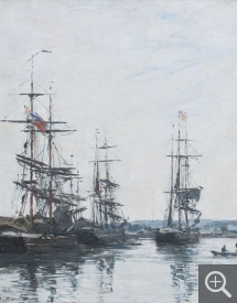 Eugène BOUDIN (1824-1898), Sailboats in the Port or Deauville, 1881, oil on wood, 26.6 x 21 cm. © MuMa Le Havre / Charles Maslard