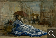 Eugène BOUDIN (1824-1898), Woman in a Blue Dress Under a Parasol, ca. 1865, oil on board, 22.1 x 31.8 cm. © MuMa Le Havre / Florian Kleinefenn