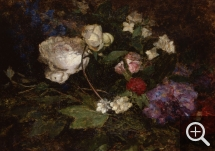 Eugène BOUDIN (1824-1898), Still Life with Peonies and Mock Orange, 1856-1862, oil on canvas pasted on board, 38.5 x 54 cm. © MuMa Le Havre / Florian Kleinefenn