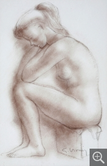 Gérard CHOAIN (1906-1988), Woman Crouched, red chalk, 36 x 25 cm. Senn-Foulds collection. © MuMa Le Havre / Charles Maslard