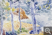 Henri Edmond CROSS (1856-1910), Trees on the Seashore, watercolour. Senn-Foulds collection. © MuMa Le Havre / Florian Kleinefenn