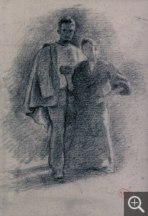 Henri Edmond CROSS (1856-1910), Standing Couple, black pencil. Senn-Foulds collection. © MuMa Le Havre / Florian Kleinefenn