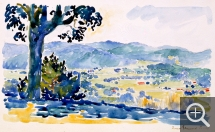Henri Edmond CROSS (1856-1910), Landscape in Provence, watercolour. Senn-Foulds collection. © MuMa Le Havre / Florian Kleinefenn
