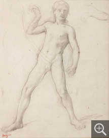 Edgar DEGAS (1834-1917), Adolescent with Legs Apart. Study for Alexander and Bucephalus, 1859-1961, graphite and black pencil, 25.5 x 19.25 cm. Senn-Foulds collection. © MuMa Le Havre / Florian Kleinefenn