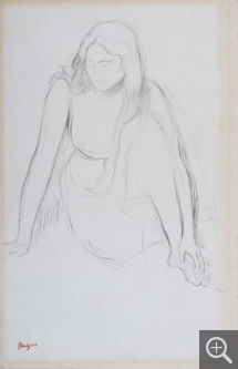 Edgar DEGAS (1834-1917), Woman sitting by the water. Study for the painting: Mademoiselle Fiocre in the Ballet La Source, ca. 1867-1868, pencil, 36.1 x 23.6 cm. © MuMa Le Havre / Charles Maslard