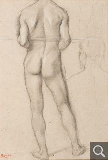 Edgar DEGAS (1834-1917), Male Nude, Back View, with a Stick under his Arms, and Study of Head. Study for Spartan Girls Challenging Boys, 1860-1862, black pencil reinforced with white chalk, 28 x 20 cm. Senn-Foulds collection. © MuMa Le Havre / Florian Kleinefenn