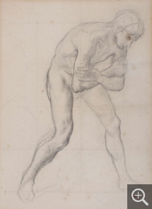 Edgar DEGAS (1834-1917), Man leaning forward, arms crossed in front of him, ca. 1865, pencil, 36.5 x 24.5 cm. © MuMa Le Havre / Charles Maslard
