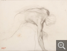 Edgar DEGAS (1834-1917), Male Nude Bending to Pick up an Object. Study for Jephtha's Daughter, ca. 1859-1861, black chalk, 30.5 x 23.5 cm. Senn-Foulds collection. © MuMa Le Havre / Florian Kleinefenn