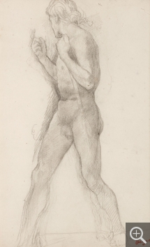Edgar DEGAS (1834-1917), Naked Youth with Head Flung Back and Right Arm Raised. Study for Jephtha's Daughter, ca. 1859-1861, black chalk, 31 x 19.5 cm. Senn-Foulds collection. © MuMa Le Havre / Florian Kleinefenn