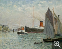 Maxime MAUFRA (1861-1918), Transatlantic Vessel Leaving the Harbour, 1905, oil on canvas, 65.5 x 81 cm. © MuMa Le Havre / Florian Kleinefenn