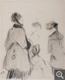 Camille PISSARRO (1831-1903), Three Women and Girl Strolling, from Behind, black pencil and black ink wash on wove paper, 18.5 x 15 cm. © MuMa Le Havre / Charles Maslard