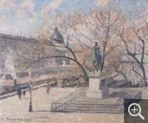 Camille PISSARRO (1831-1903), Statue of Henri IV and Hôtel de la Monnaie, Morning, Sun, 1901, oil on canvas, 46 x 55 cm. © MuMa Le Havre / Charles Maslard