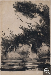 Camille PISSARRO (1831-1903), Four Women Bathing in a River, monotype on wove paper, 20.5 x 15.5 cm. © MuMa Le Havre / Charles Maslard