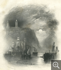 "Drawing by Joseph Mallord William TURNER (1775–1851); engraved by John COUSEN (1804–1880), Light Towers Of The Heve, copperplate engraving, 20. 9 x 12.9 cm. Provient de l'album ""Wanderings by the Seine. By Leitch Ritchie… with 20 engravings from drawings by J.M.W. Turner"", Londres, Longmann, 1834. © MuMa Le Havre / Charles Maslard"