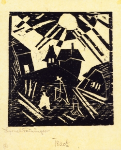 Lyonel FEININGER (1871-1956), Dilapidated Village [under a bright sun], 1918, woodcut, 11.4 x 10.5 cm. Private collection. © Maurice Aeschimann — © ADAGP, Paris, 2015