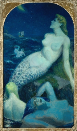 Paul-Alex DESCHMACKER (1889-1973), La grande sirène bleue, vers 1937, oil on canvas, 1.21 m x 2.11 m. . © Musée La Piscine, Dist. RMN-Grand Palais/Arnaud Loubry