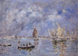 Eugène BOUDIN (1824-1898), Boats and Breakwater, 1890-1897, oil on canvas, 40 x 55 cm. © MuMa Le Havre / Florian Kleinefenn