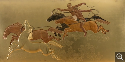 Jean DUNAND (1877-1942), Taming the Horse, ca. 1935, lacquer panel, 80 x 170 cm. © MuMa Le Havre / Charles Maslard