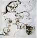 Eugène DELACROIX (1798-1863), Six Studies of Cats, brown ink on vellum papier, 18.8 x 18 cm. © MuMa Le Havre / Charles Maslard